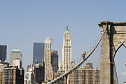 Equilibrium Prints - Workers on Brooklyn Bridge in Manhattan Print by Patricia Hofmeester