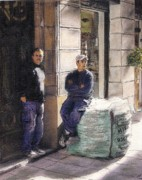 Barcelona Mixed Media Prints - Workers On La Rambla Now Sold Print by Randy Sprout
