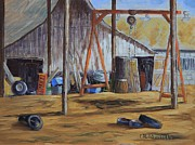 Machinery Painting Posters - Working Barn Poster by Cheryl Bloomfield