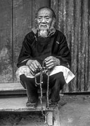 Tibetan Buddhism Metal Prints - Working Hands bw Metal Print by Steve Harrington