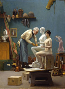Working Artist Framed Prints - Working in Marble Framed Print by Jean-Leon Gerome