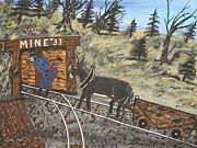 Cap Painting Originals - Working In The Coal Mine by Jeffrey Koss