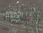 Stop Sign Drawings - Working Late by Donald Maier