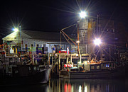 Night Scenes Prints - Working the Docks Print by Joann Vitali