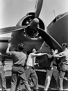 Lockheed Photos - Workmen spin propeller PV-1 by Stefan Kuhn