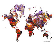 World Map Canvas Digital Art Metal Prints - World Atlas Metal Print by Elena  Feliciano