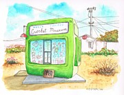 Watercolor And Ink Paintings - World Famous Crochet Museum in Joshua Tree - California by Carlos G Groppa