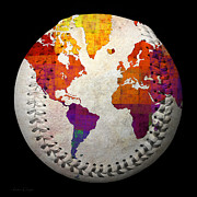 Baseball Digital Art Metal Prints - World Map - Rainbow Bliss Baseball Square Metal Print by Andee Photography