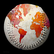 Baseball Digital Art Metal Prints - World Map - Rainbow Passion Baseball Square Metal Print by Andee Photography