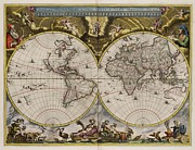North African Mixed Media Posters - World Map 1664 AD Poster by L Brown