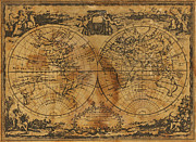 Stained Prints - World Map 1788 Print by Kitty Ellis