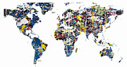 Map Of The World Mixed Media Posters - World Map Abstract Poster by Brian Buckley