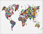Flower Map Framed Prints - World Map and Map of the World Framed Print by WaterColorMaps Chris and Mary Ann