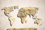 Old Earth Map Prints - World Map Art - Old Paper Print by World Art Prints And Designs