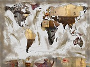Oceania Digital Art - World Map Artefact by Andre Pillay