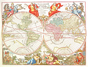 World Map Print Drawings - World Map c1694 by Safran Fine Art