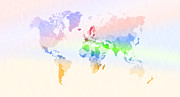 Mundo Prints - World Map Crumpled Multi-Coloured Print by Hakon Soreide