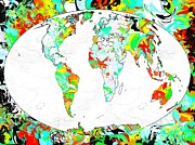 Map Of The World Painting Posters - World Map Poster by Daniel Janda