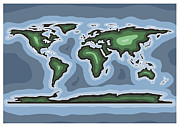 World Map Print Digital Art - World Map Green by Stephen Gowland
