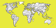 World Map Print Drawings - World map in acid yellow by Lee-Ann Adendorff