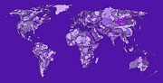 Purple Artwork Drawings Posters - World map in bright blue Poster by Lee-Ann Adendorff