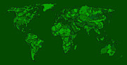 World Map Print Drawings - World map in dark-green by Lee-Ann Adendorff