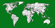 Graphic Drawings - World map in Green by Lee-Ann Adendorff