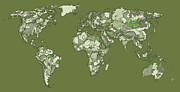 World Map Print Drawings - World map in grey-green by Lee-Ann Adendorff