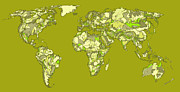 Planet Map Drawings Prints - World map in khaki  Print by Lee-Ann Adendorff