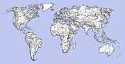 World Map Print Drawings - World map in light blue by Lee-Ann Adendorff
