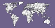 World Map Print Drawings - World map in lilac grey by Lee-Ann Adendorff
