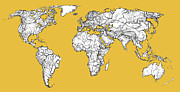 Invitations Drawings Posters - World Map in mustard Poster by Lee-Ann Adendorff