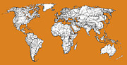 Planet Map Drawings Prints - World map in orange Print by Lee-Ann Adendorff