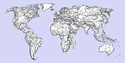 World Map Print Drawings - World map in pale blue by Lee-Ann Adendorff
