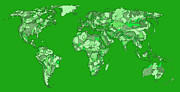World Map Print Drawings - World map in pine green by Lee-Ann Adendorff