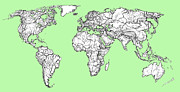 World Map Print Drawings - World map in pistachio green by Lee-Ann Adendorff