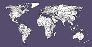 World Map Print Drawings - World map in purple-grey by Lee-Ann Adendorff