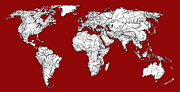 Planet Map Drawings Prints - World Map in red Print by Lee-Ann Adendorff