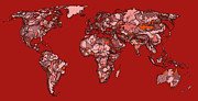 World Map Print Drawings - World map in reds by Lee-Ann Adendorff