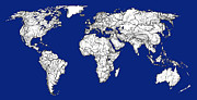 World Map Print Drawings - World map in royal blue by Lee-Ann Adendorff
