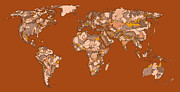 World Map Print Drawings - World map in sepia by Lee-Ann Adendorff