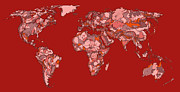 World Map Print Drawings - World map in vivid red by Lee-Ann Adendorff