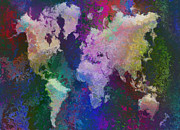 Water Color Digital Art Framed Prints - World Map Framed Print by Jack Zulli