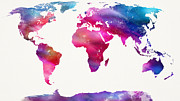 Spray Paint Mixed Media Posters - World Map Light  Poster by Mike Maher