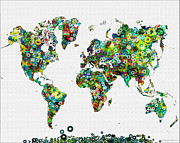 Flower Map Posters - World Map Map of the World Art Poster by WaterColorMaps Chris and Mary Ann