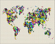 Map Of The World Painting Posters - World Map Map of the World Fingerprints Poster by WaterColorMaps Chris and Mary Ann