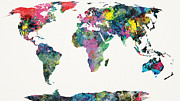 Stencil Mixed Media Framed Prints - World Map Framed Print by Mike Maher