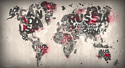 Typography Map Digital Art - World Map Minimal Red by Mikael B Design