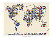 World Map Print Painting Framed Prints - World Map Mondrian Map of the World Framed Print by WaterColorMaps Chris and Mary Ann
