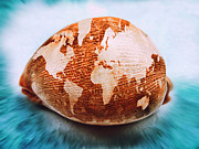 World Map Canvas Digital Art Prints - World map on cowrie Print by Ryan Vincent